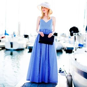 J Crew Gingham Maxi Dress